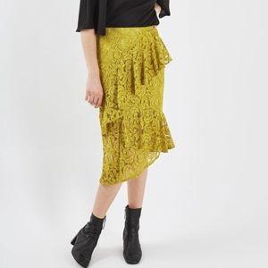 Topshop Chartruese Yellow Lace Ruffle Midi Skirt